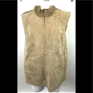 Coldwater Creek Tan Suede Leather Sweater Vest